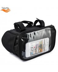 TakeMe Bicycle / Bike bag for steering wheels (22x18cm) with extra pockets inside and front pocket for phone Black