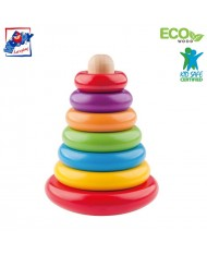 Woody 90003 Eco Wooden Educational color stacking pyramide (7pcs) for kids 2y+ (13x17cm)