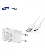 Samsung EP-TA200EWE Adaptive USB Plug 2A Fast Charger + EP-DN930CWE Type-C 3.1 Data Cable White (OEM)