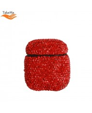 TakeMe Ultra-thin protective case for AirPods with Sparkle Diamonds Red
