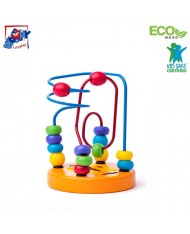 Woody 90065 Eco Wooden Educational mini labyrinth for hand motoric skills for kids 2y+ (9x12.5cm)