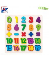 Woody 90069 Eco Wooden Educational and Fun Puzzle - Learn Numbers & Maths  3y+ (25pcs) (30x30cm)