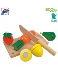 Woody 90081 Eco Wooden Educational Cutting Fruit and Vegetables for kids 3+ years (19x10.5x6cm)