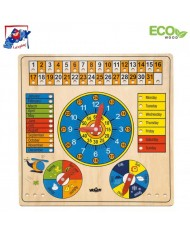 Woody 90659 Eco Wooden English language Educational Multi-Purpose Calendar for kids 5+ (36x36cm)