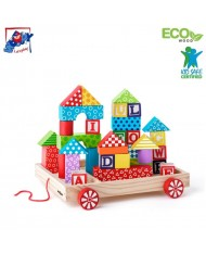 Woody 90913 Eco Wooden Alphabet Educational cart with color blocks for contruction (34pcs) 3y+ (27x24cm)