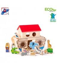 Woody 90917 Eco Wood Educational Game Noah's Ark Animal Blocks set for kids 3+ (29x24cm)