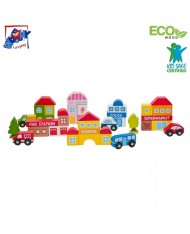Woody 91186 Eco Wooden City Blocks Construction Game and railway additional kit for kids 3y+
