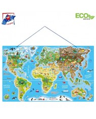 Woody 91290 Eco Educational The World Map Puzzle & Learn English Language Game for kids 4+ (77x47cm)