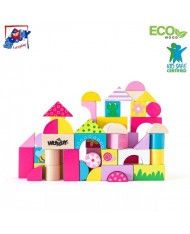 Woody 91302 Eco Wooden Educational Colored building 3cm blocks Trendy (50pcs) for kids 2y+