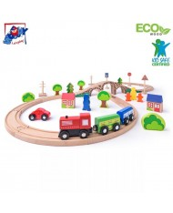 Woody 93061 Educational Railway Figure Eight set with train, signs, trees (40pcs) for kids 3+ (110x47cm)