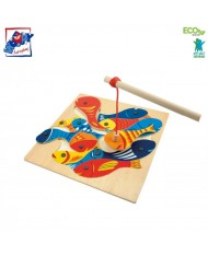 Woody 90014 Eco Wooden Educational Magnetic fishing game (13pcs) for kids 3y+ (33x33x3.5cm)
