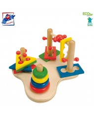 Woody 90265 Eco Wooden Educational 3D Stacking and nesting sorting shape (12pcs) for kids 2y+