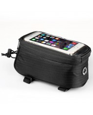 Wozy 2BK Waterproof Bicycle Top Frame Fix Bag with Holder for GPS & Smartphone 6.5'' max 1.5L Black