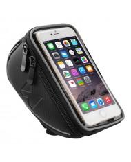 Wozy 4BK Waterproof Bicycle Front Frame Handlebar Bag Touch Screen Phone 6.5'' max Holder 0.9L Black