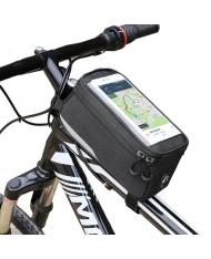 Wozy 6BK Waterproof Bicycle Front Frame Top Bag with Phone 6.5'' max Holder 1L Black