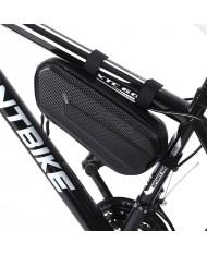 Wozy 10BK Carbon Hard Shell Waterproof Bicycle Front Frame Bottom Bag 1L Black