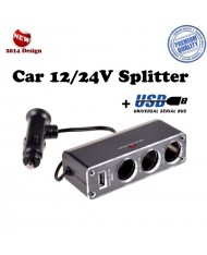 Ex Line Car 12/24V Socket splitter + USB 500mAh (12/24V power splitter to 3 sockets + cable)