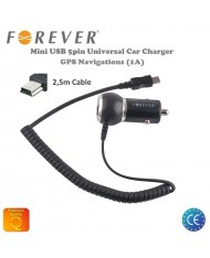 Forever 1A Car Charger Mini USB 5pin GPS Navigation HQ Analog with 2,5m Cable