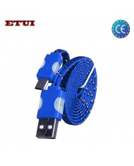 Etui Super Flat Wired 1m Led Flashing Light Universal Micro USB Cable Blue