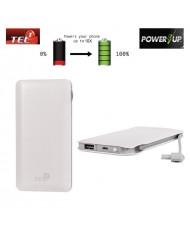 TEL1 B12 Power Bank 12000mAh External Battery Micro USB / USB 5V 1A/2.1A Port White