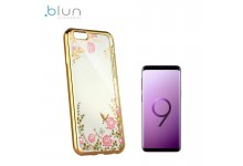 Blun DIAMOND ultra thin silicone back cover case for Samsung G960F Galaxy S9 with Gold frame