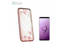 Blun DIAMOND ultra thin silicone back cover case for Samsung G960F Galaxy S9 with Rose gold frame