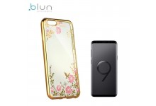Blun DIAMOND ultra thin silicone back cover case for Samsung G965F Galaxy S9 Plus with Gold frame