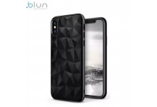 Blun 3D Prism Shape Super Thin Silicone Back cover case for Samsung G965F Galaxy S9 Plus Black
