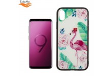 TakeMe GLASS glossy slim back cover case for Samsung Galaxy S9 (G960) Flamingos