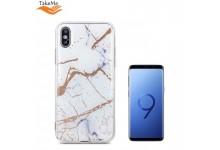 TakeMe Marmur shine silicone hard super thin back cover case for Samsung Galaxy S9 (G960) White