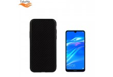 TakeMe GLASS glossy slim back cover case for Huawei Y7 (2019) Carbon BLack