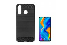 TakeMe CARBON effect TPU super thin back cover case for Huawei P30 Lite Black