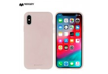 Mercury Silicone&Fiber soft touch matte back cover case for Samsung Galaxy S10 (G973) Pink sand