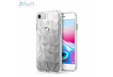 Blun 3D Prism Shape Super Thin Silicone Back cover case for Xiaomi Redmi Note 8 Transparent
